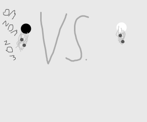 white dot vs. black dot, spaghetti eating