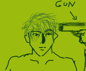 blue haired anime man shoots himself