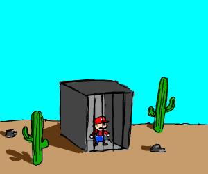 Mario in jail, in the desert