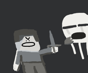 Steve with a sword vs. Ghast