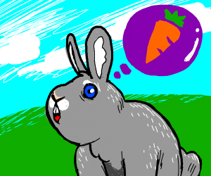 Rabbit thinking of Carrot
