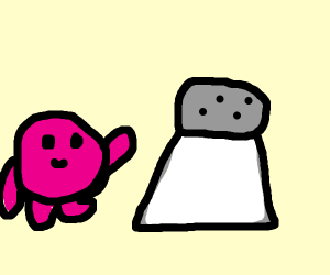 Kirby says hi to a salt shaker