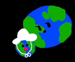 Baby earth bumping into mommy earth