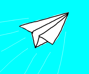 Paper airplane mid-flight