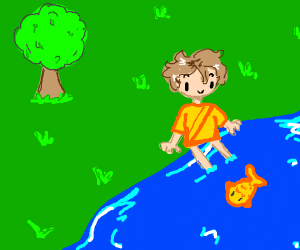 A man feeds fish in a lake near the forest