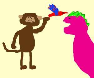 Angry monkey throw dead bird to barney