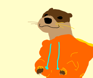 Otter in an oversized hoodie very cute