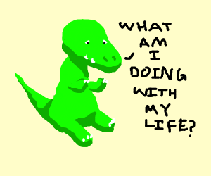 dinosaur having a midlife crisis