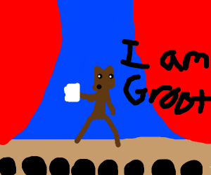 Groot reads poetry to audience