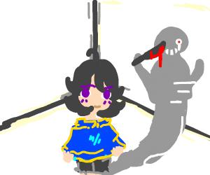 Girls evil shadow of herself