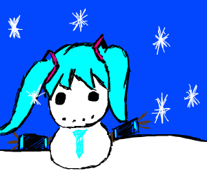 hatsune miku as a snowman
