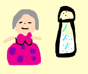 Grandma next to a large salt shaker.