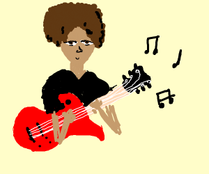 Guy with afro playing guitar