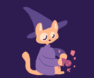 cat wizard performs voodoo magic