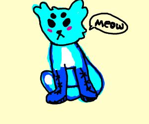 Blue cat with owl ears wears blue shoes