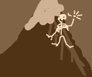 Friendly skeleton on a mountain