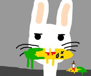 Bunny killing corn
