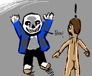 Sans frightens the naked man.
