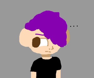 Bored guy with very edgy purple hair