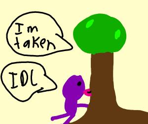 Purple man licking tree