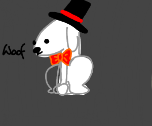 Dog with a bowtie and hat