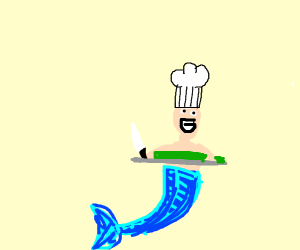 Merman Chef Ready to Cut Up Some Sushi