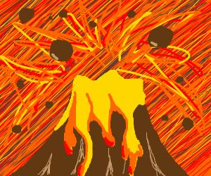 volcano erupting violently