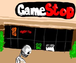 sad skeleton outside of game stop
