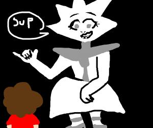 White diamond saying sup