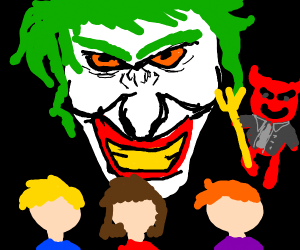 Joker and 3 kids with a red devil