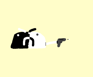 Black & white burrito shooting a gun