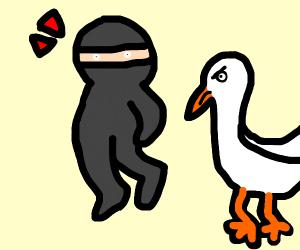 Redshirt ninja poked in rear by weird bird.