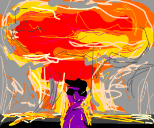 Purple dude (not thanos)+explosion behind him
