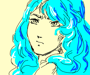 Annoyed blue haired girl