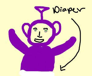 Teletubby purple in diaper