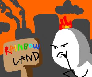 fake 'rainbow land' sign