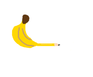 From the banana comes a pencil