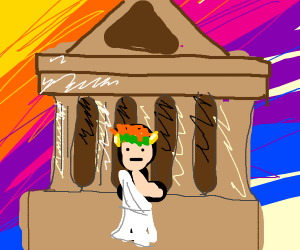 A man in a toga stands in front of the ruins