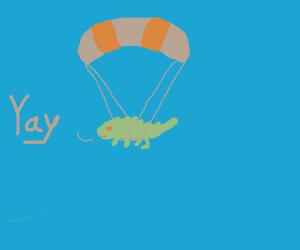 A skydiving lizard