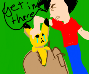 pokemon trainer stuffs his pokemon in bag