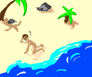 Guy in a deserted island is naked