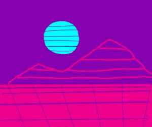 Neon Vaporwave Moon