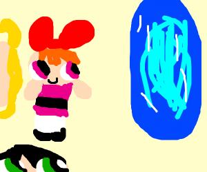 powerpuff girl runs into blue portal