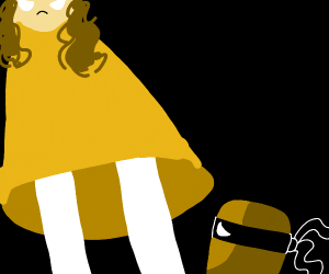 Lady in orange dress looks at ninja hashbrown