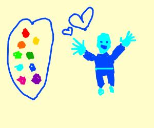 Blue man loves colors