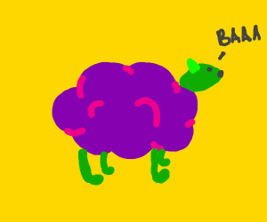Purple sheep with green limbs and a cool hat