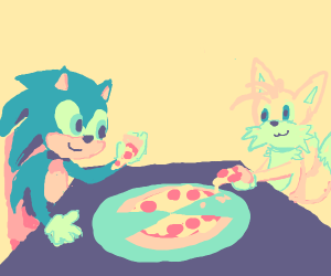 sonic and tails share a pizza