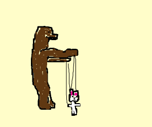 bear has a bunny puppet