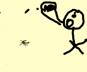 Person being freaked by a spider