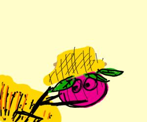 A farmer but it's a giant raddish